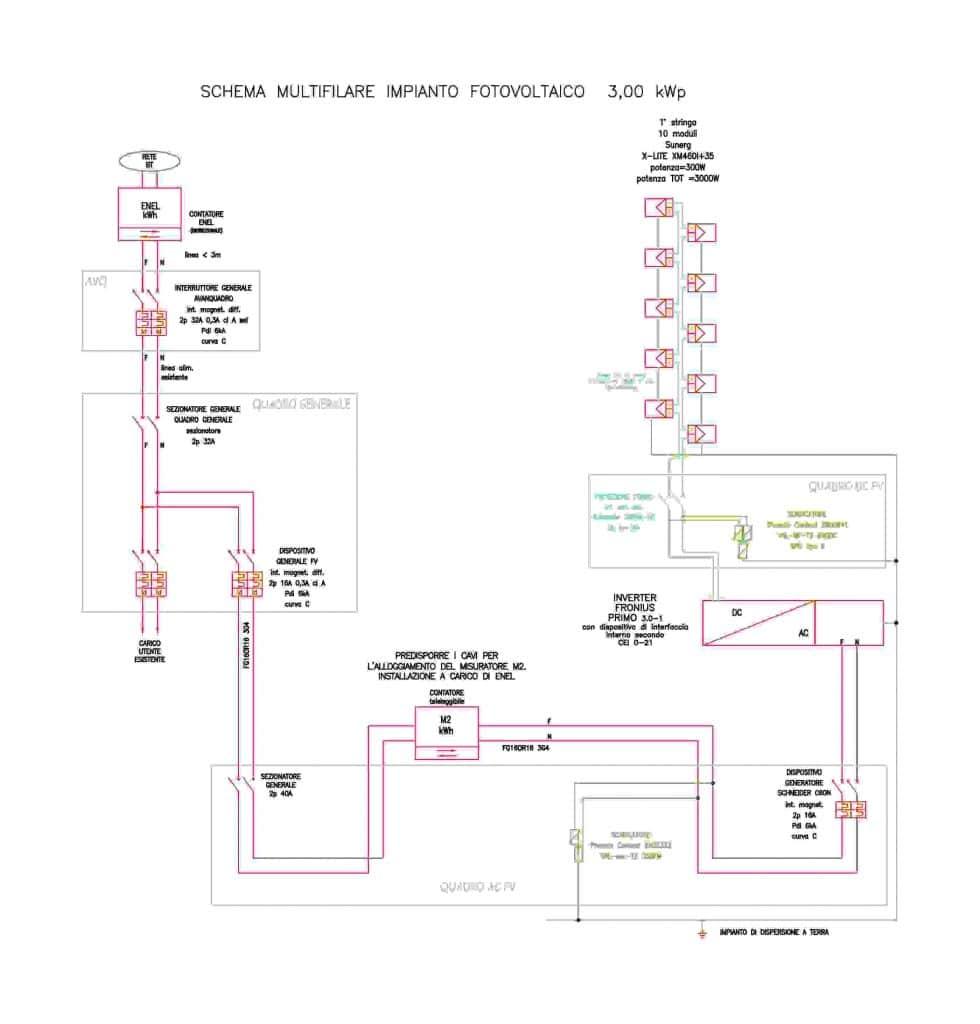 Schema Unifilare Impianto Fotovoltaico da 3 Kw